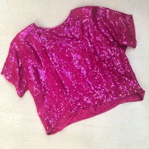 Vintage Pink Sequin beaded silk blouse L